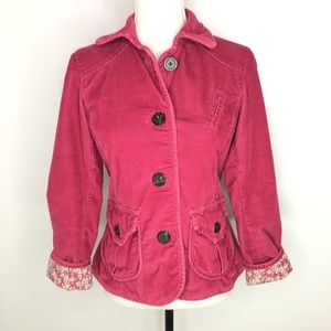 Gap Pink Corduroy Button Front Jacket Blazer Sz 4